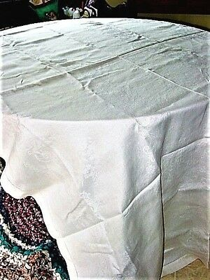 "Vtg.LinenTablecloth Damask,White 60x100""Feathers,Roses,Bows1 1/2""Hemstitch1940's"