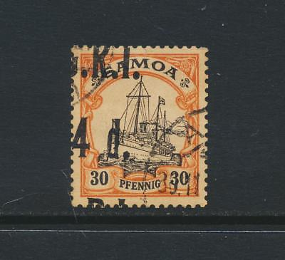 GRI SAMOA 1914, 4d on 30pf SHIFTED OVPT, VF USED SG#106 CAT£60 $77 (SEE BELOW)
