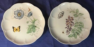 """(2) LENOX BUTTERFLY MEADOW 9"""" Accent/Salad Plates MONARCH & EASTERN TAILED BLUE"""