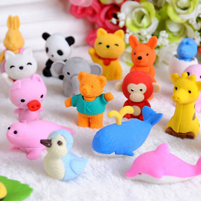20pc Cute Animal Rubber Pencil Eraser Set Stationery Novelty Children Party Good