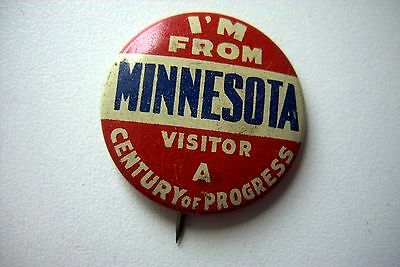 'i'm  From  Minnesota'  Century Of Progress  Pinback - Scarce!