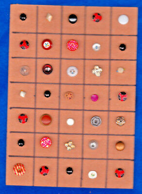 35 DIMINUTIVE & SMALL OLDER BUTTONS glass, metal, calico & china