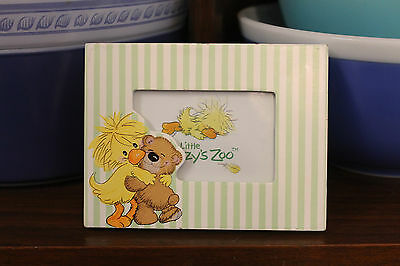 """Suzy's Zoo Duck and Bear Frame Little Suzys Zoo Nursery Frame Green Striped 3.5"""""""