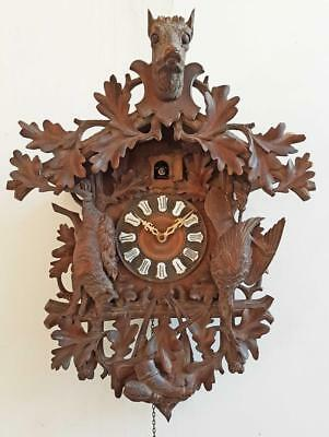 SPLENDID BIG ANTIQUE CARVED OAK BLACK FOREST CUCKOO CLOCK 1880 mantle clock