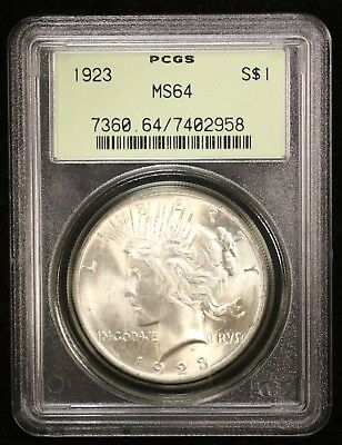 1923 Peace Silver Dollar Pcgs Ms64