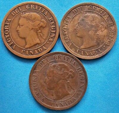 1876 1887 1901 Canada Canadian Large 1 Cent Coins Queen Victoria - Lot 0f 3