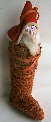 Antique Santa in Shoe Christmas Ornament made in Japan, pre-WWII