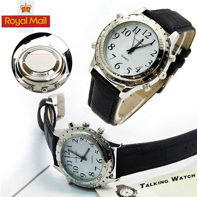 UK New Digital English Talking Watch Leather Strap For Blind Person or the WT