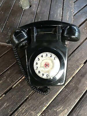 Original Vintage Retro 1970's GPO 741 Rotary Dial Black Wall Mounted Telephone