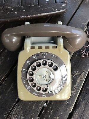 Gpo/bt 710 Converted Vintage Grey And Brown 1979 Year  Rotary Dial Telephone