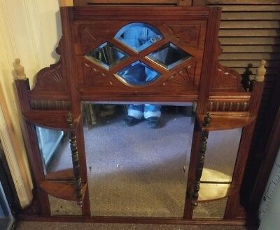 Antique Victorian Eastlake Carved Beveled Mirror Whatnot Shelf Wall Display