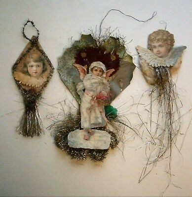 (3) Antique Angel and tinsel Christmas Ornament Decorations