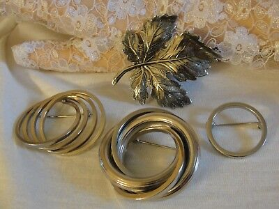 Vintage Lot Of 4 Silver Brooch Pins Leaf, Circles Classic Styles