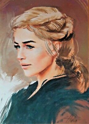 original hand painting watercolor drawing ACEO art picture portrait woman