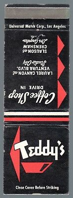 Teddy'S Coffee Shop Drive In Los Angeles & Studio City Ca 20 Fs Matchbook Cover