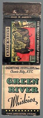 Green River Whiskies - The Whiskey Without Regrets 20 Fs Matchbook Cover