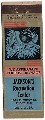 Jackson'S Recreation Center Oil City Pa 20 Fs Matchbook Cover Bowling