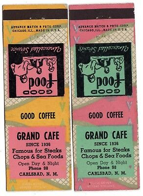 2 Diff. Grand Cafe Carlsbad Nm 20 Fs Matchbook Covers Low Phone 98