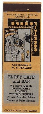 EL RAY CAFE and BAR CENTER of PALM SPRINGS 20 FS MATCHBOOK COVER