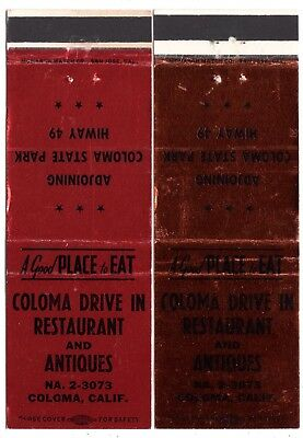 2 DIFF. COLOMA DRIVE IN RESTAURANT and ANTIQUES COLOMA CA 20 FS MATCHBOOK COVERS