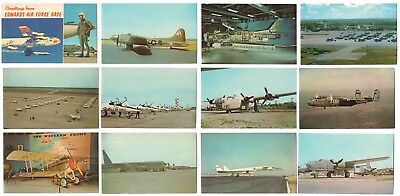 Vintage Lot of 12 Unposted Chrome Air Force Base AVIATION AIRPLANE Postcards