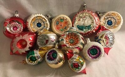 VINTAGE CHRISTMAS ORNAMENTS Mercury Glass Reflector Indents Gorgeous lot of 13