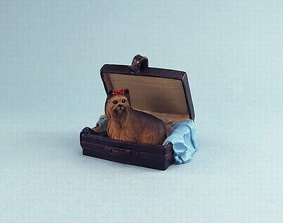 Dollhouse Miniature Yorkshire Terrier Dog Sitting in a Suitcase Ornament DPTRD04