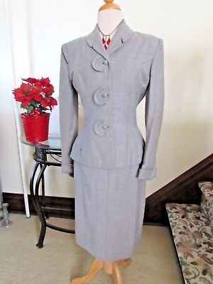 LADIES' VINTAGE 1940's GRAY WOOL SUIT Jacket & Skirt BOUND BUTTONHOLES by GINO M