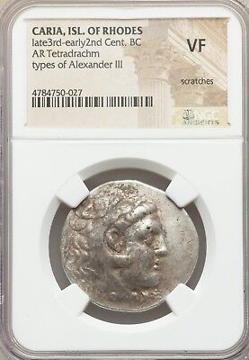 CARIAN ISLANDS Rhodes 3rd-2nd centuries BC AR tetradrachm 32mm NGC VF scratches