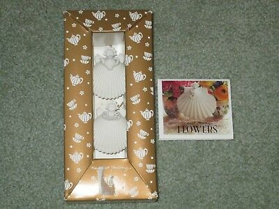 Margaret Furlong Tea For Two Seashell Angels With Stands 1997 Nib