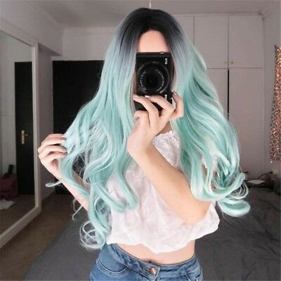 Womens Synthetic Long Wavy Curly Hair Fashion Tricolor Gradient Wigs B