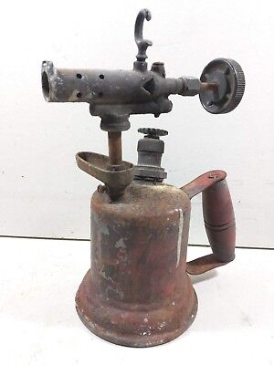 Antique Vintage Otto Bernz Brass Blow Torch  Rochester NY w/ Original Red Paint