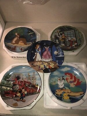 Lot Of (5) Disney Collector Plates Mickey Mouse Cinderella Little Mermaid Bambi