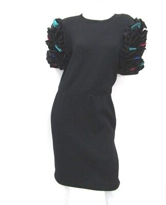 Vintage St. John by Marie Gray Knit Cocktail Dress Ruffle Sleeves size 8 USA