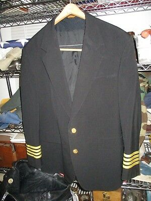 Rare Continental Airlines Pilot's Captain Vintage Men's Uniform Jacket Coat 43R