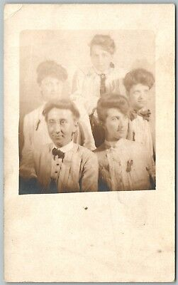 MULTI IMAGE OF WOMAN ANTIQUE REAL PHOTO POSTCARD RPPC trick collage montage