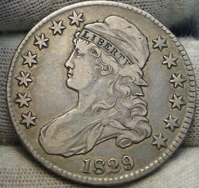 1829 Capped Bust Half Dollar - 50 Cents, Nice Coin, Free Shipping  (7107)