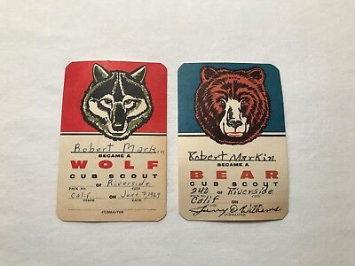 2 1960's Boy Scouts Of America Cub Scout Rank Cards - Wolf & Bear