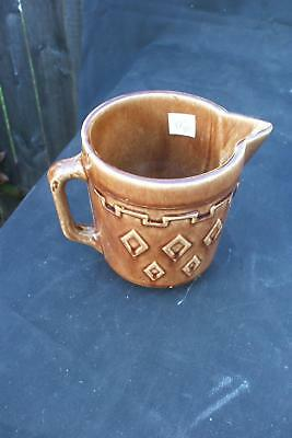 Brown Pottery Geometric Milk Water Pitcher Vintage Antique