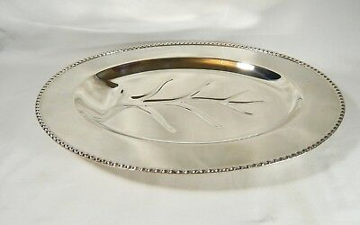 """Vintage Silver Plate MEAT PLATTER with TREE WELL Footed 16"""" TRAY Rockford Co"""