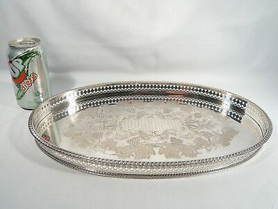 """VINERS Cavendish OVAL Silver Plate GALLERY Drink TRAY 16"""" Cocktail Platter"""