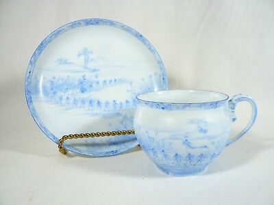 Rare China TEACUP & SAUCER Hand Painted Signed Japanese CRICKETS War DRAGONFLY