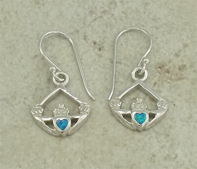 ELEGANT .925 STERLING SILVER CELTIC OPAL CLADDAGH EARRINGS style# e0771