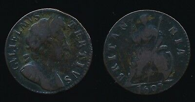 1697 William III FARTHING...Fast Post