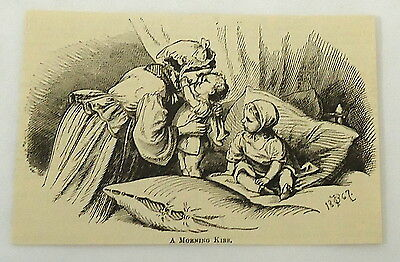 small 1882 magazine engraving ~ MOTHER KISSES BABIES GOOD MORNING