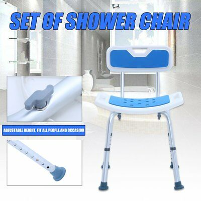 Aluminium Shower Seat Chair Stool Bench With Backrest Soft Pad Adjustable LMNBVC