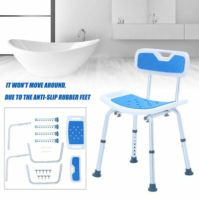 Aluminium Bath Shower Seat Stool Chair With Back Adjustable Height 136KG Aid AUS