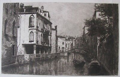"""Antique Etching """"Canal Of Venice"""" C 1900 Artist Unknown"""
