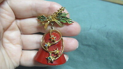 Gold Tone Christmas Bell & Holly Enamel & Rhinestone  Brooch Pin by Gerry's