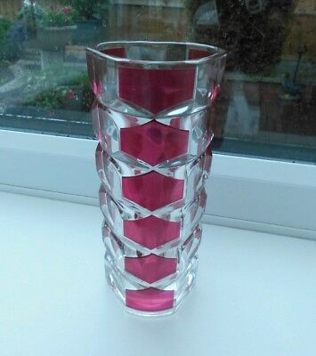 VINTAGE J.G. Durand Geometric Ruby Red & Clear French Glass Small Posy Vase vgc
